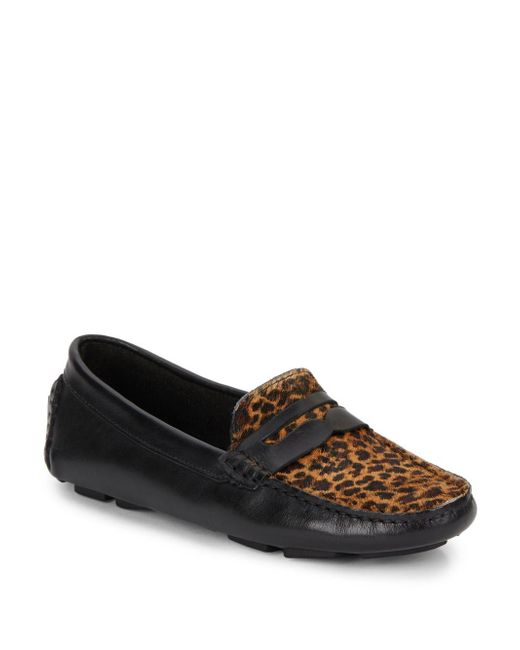 Saks Fifth Avenue   Black Penny Faux Fur & Leather Moccasins   Lyst