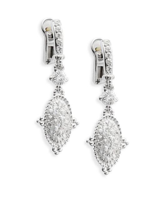 Judith Ripka | Metallic Arielle White Sapphire & Sterling Silver Oval Drop Earrings | Lyst