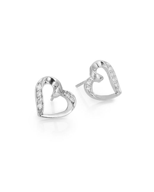 Ak Anne Klein | Metallic Sterling Silver Pavé Heart Stud Earrings | Lyst
