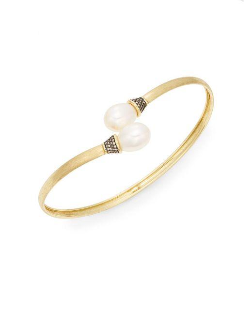 Jude Frances | Metallic Classic 10mm Freshwater Oval Pearl, Grey Diamond & 18k Yellow Gold Bracelet | Lyst