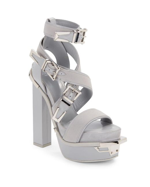 Versace | Gray Leather Buckle Platform Sandals | Lyst