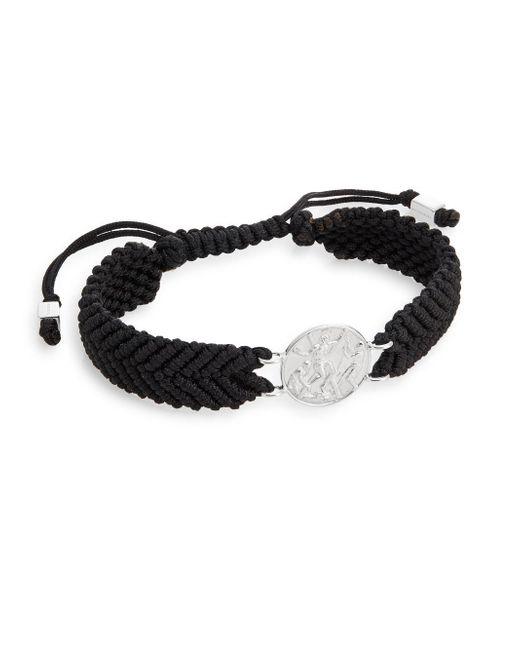 Tateossian | Black St. Andrew Medallion Macramà Bracelet for Men | Lyst