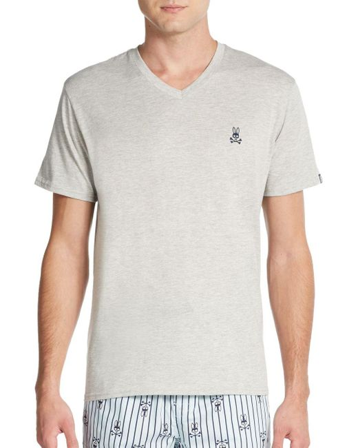 Psycho Bunny | Gray Heathered V-neck Lounge Tee for Men | Lyst