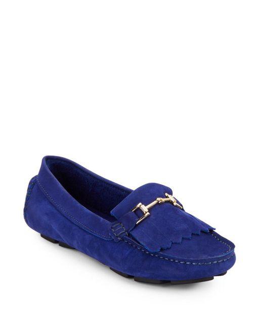 Saks Fifth Avenue   Blue Kiltey Suede Loafers   Lyst