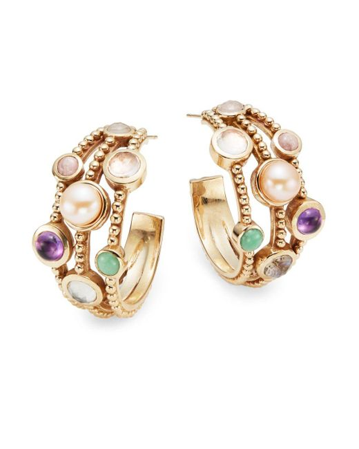 Stephen Dweck | Multicolor Semi-precious Multi-stone Bezel Hoop Earrings/1.25"