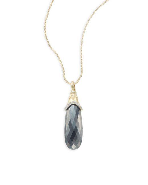 Jude Frances | Metallic Hematite, Pavà Diamond & 18k Yellow Gold Teardrop Pendant | Lyst