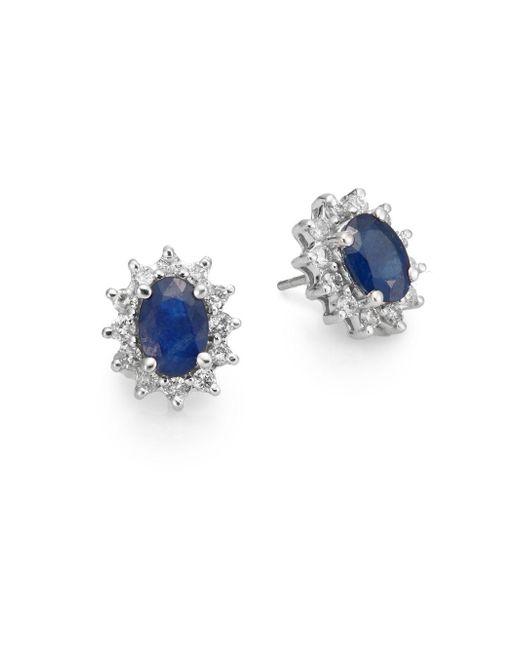 Effy   Blue Final Call Sapphire, Diamond & 14k White Gold Sunburst Stud Earrings   Lyst