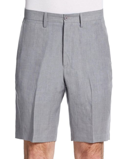 Saks Fifth Avenue Black Label | Gray Winn Chambray Linen Shorts for Men | Lyst