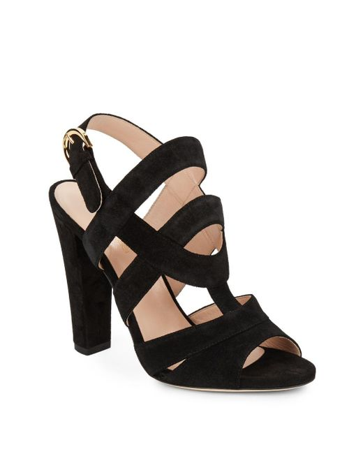 Sergio Rossi | Black Suede Slingback Sandals | Lyst