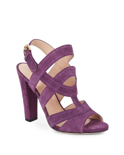Sergio Rossi | Purple Suede Slingback Sandals | Lyst