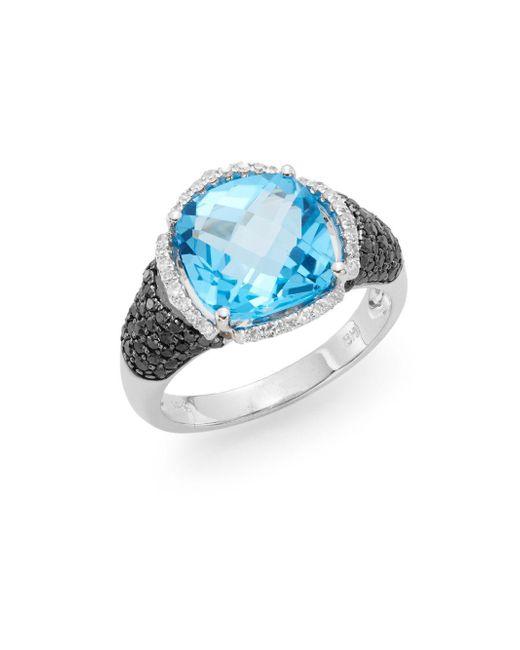 Effy | Blue Topaz, Black Diamond, White Diamond & 14k White Gold Halo Ring | Lyst