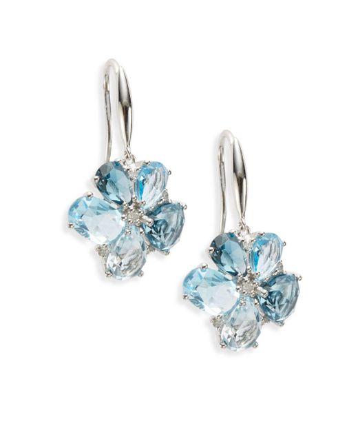 Effy | Final Call London Blue Topaz, Diamond & 14k White Gold Earrings | Lyst