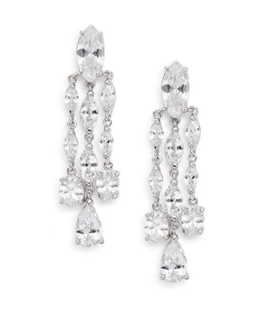 CZ by Kenneth Jay Lane | Metallic Marquis Triple-drop Chandelier Earrings | Lyst