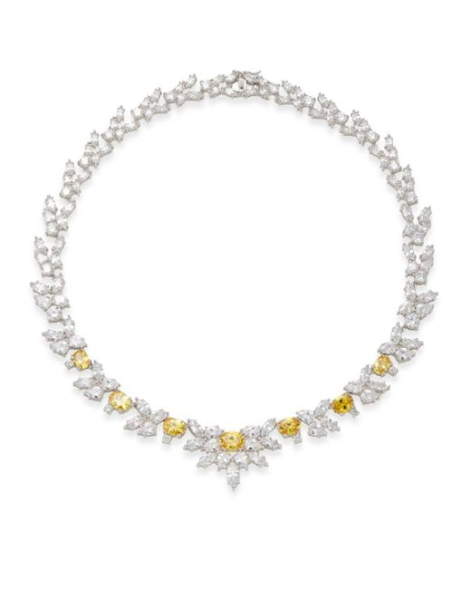 CZ by Kenneth Jay Lane   Metallic Multi-shape Floral Necklace   Lyst