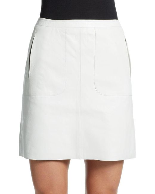 French Connection | White Eddy Leather Mini Skirt | Lyst