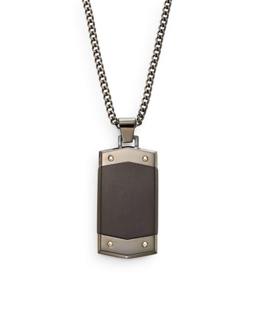 Saks Fifth Avenue | Black 14k Yellow Gold & Stainless Steel Pendant Necklace | Lyst