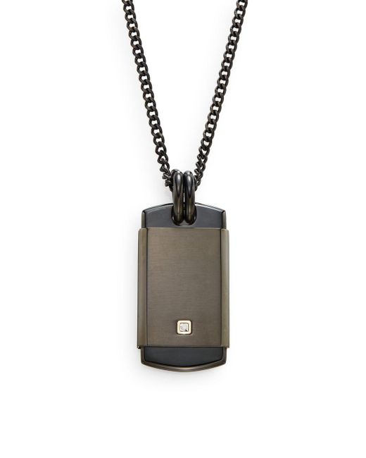 Saks Fifth Avenue | Black 0.01 Tcw Diamond & Stainless Steel Pendant Necklace for Men | Lyst