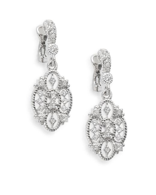 Judith Ripka | Metallic Castle White Sapphire & Sterling Silver Openwork Earrings | Lyst