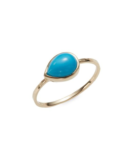 Anzie | Metallic Classique Turquoise & 14k Yellow Gold Ring | Lyst
