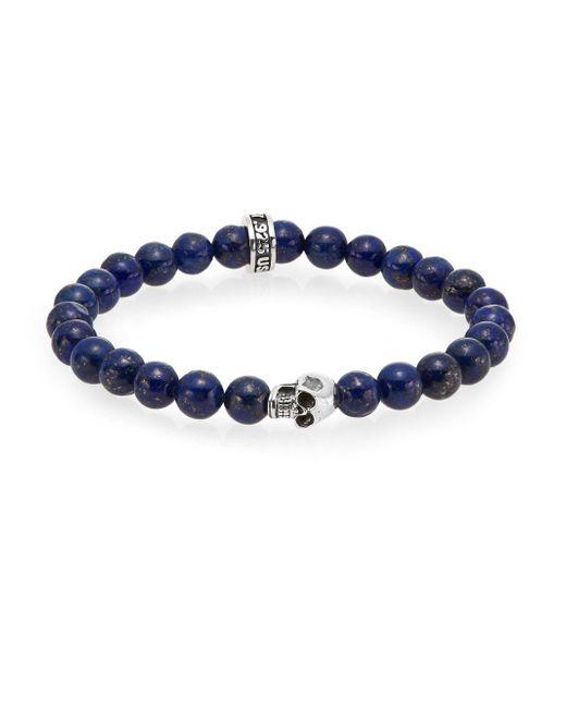 King Baby Studio | Blue Lapis Bead Skull Bracelet | Lyst
