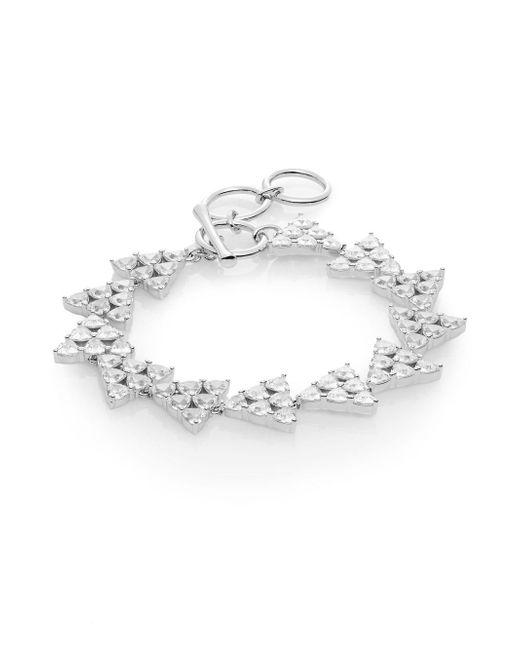 Adriana Orsini | Metallic Trillionaire White Stone Triangle Bracelet | Lyst