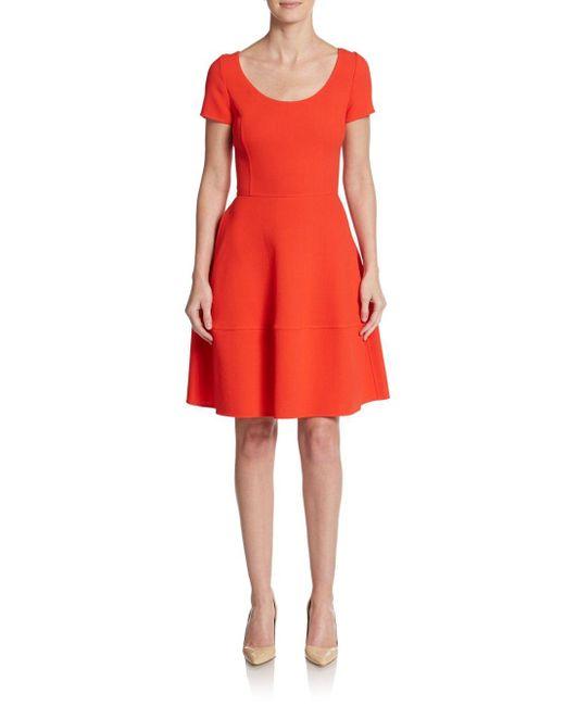 Oscar de la Renta   Orange Wool Fit-and-flare Dress   Lyst