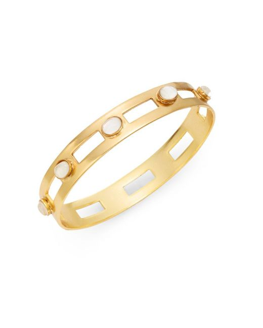 Stephanie Kantis   Metallic Monaco White Quartz Studded Cutout Bangle Bracelet   Lyst