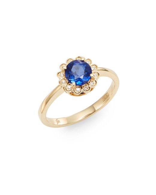 Effy | Blue Final Call Sapphire, Diamond & 14k Yellow Gold Ring | Lyst