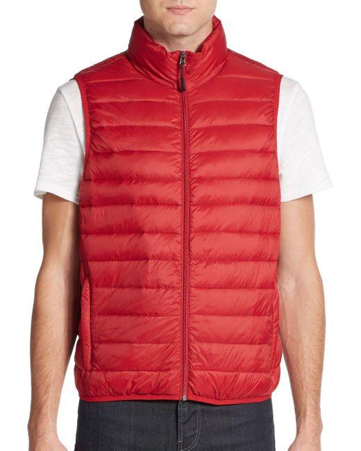 Saks Fifth Avenue | Red Packable Nylon Puffer Vest for Men | Lyst