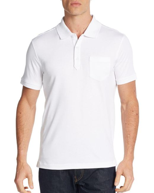Saks Fifth Avenue | White Pocket Pima Cotton Polo Shirt for Men | Lyst