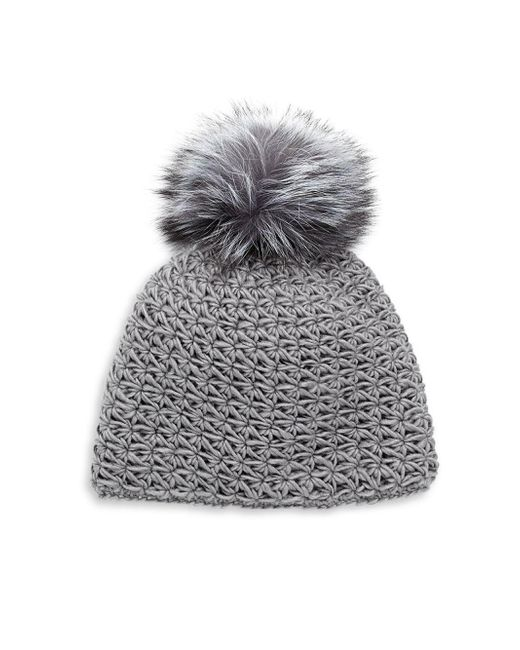 Surell | Gray Fox Fur Pom-pom Hat | Lyst