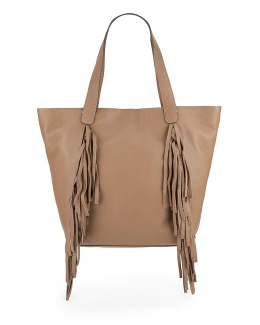 Vince Camuto | Natural Shira Fringed Leather Tote | Lyst