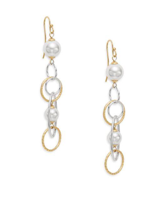 Majorica | Metallic Rain 8mm-12mm White Pearl Mixed Hoop Drop Earrings | Lyst