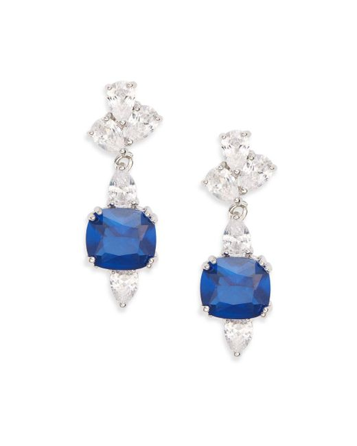 CZ by Kenneth Jay Lane | Blue Embellished Cushion Stone Drop Earrings/silvertone | Lyst