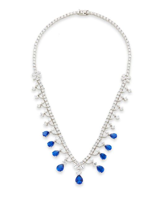 CZ by Kenneth Jay Lane | Blue Mixed Stone Halo Drop Necklace/silvertone | Lyst
