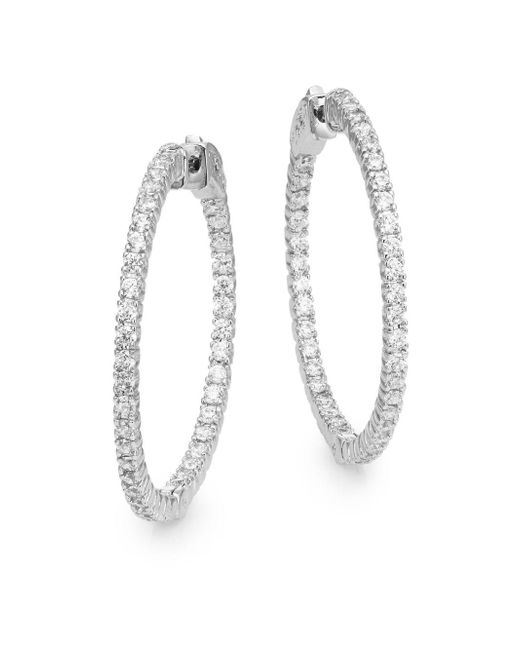Saks Fifth Avenue | Metallic Pavé Hoop Earrings/1.25"