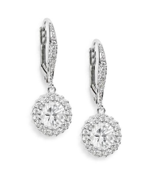 Saks Fifth Avenue | Metallic Round Pavé Halo Drop Earrings | Lyst