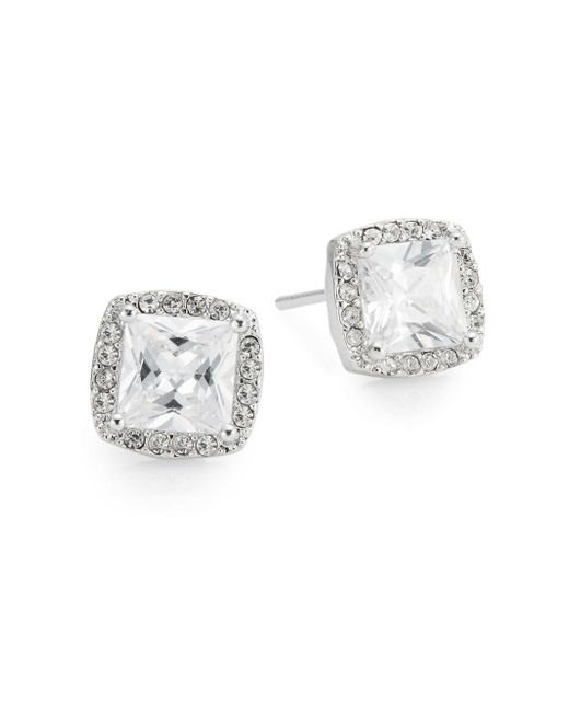Saks Fifth Avenue | Metallic Pavé Halo Square Stud Earrings | Lyst
