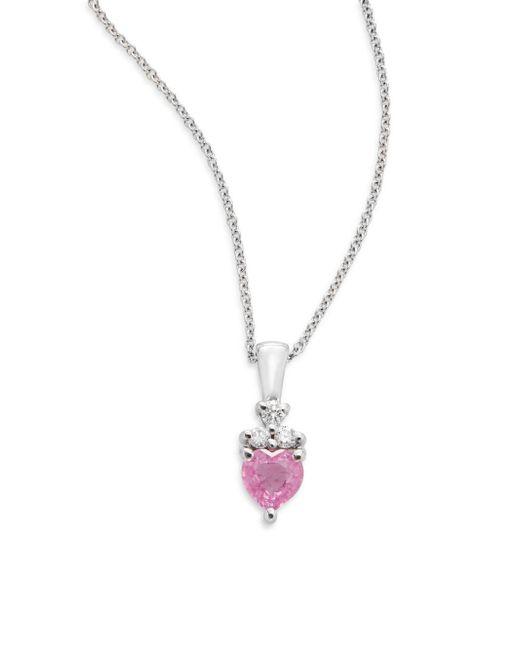 Effy | Pink Sapphire, Diamond & 14k White Gold Necklace | Lyst