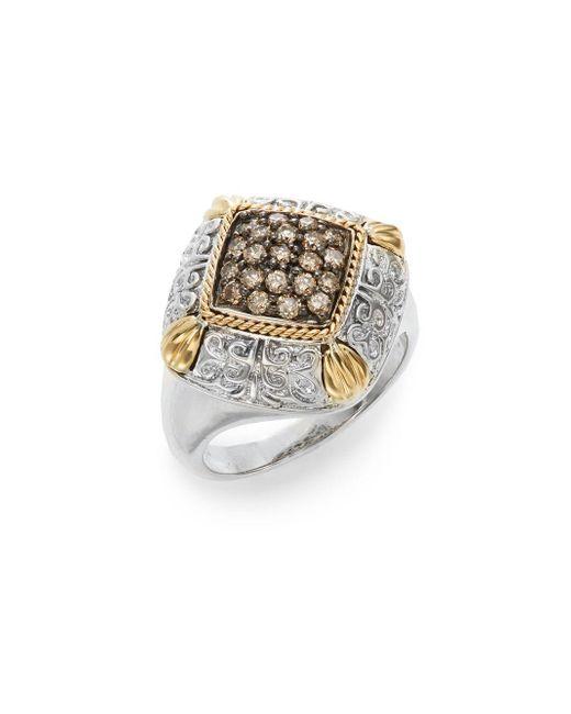Effy   Metallic 925 Brown Diamond, Sterling Silver & 18k Yellow Ring   Lyst