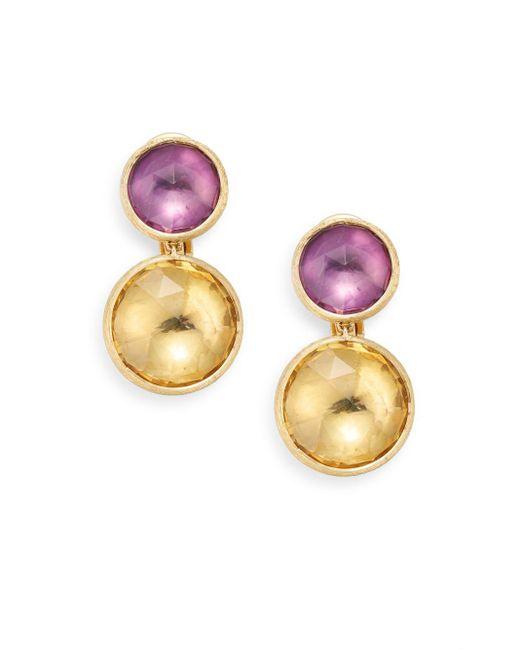 Marco Bicego | Metallic Jaipur Light Amethyst, Citrine & 18k Yellow Gold Double Drop Earrings | Lyst