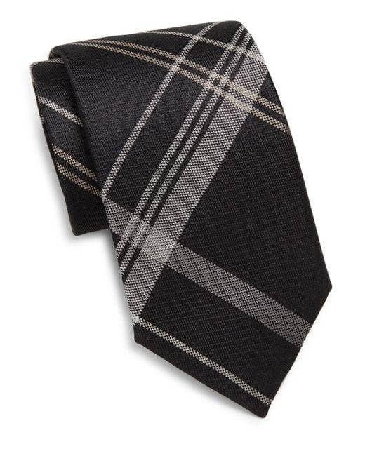 Saks Fifth Avenue   Black Silk Plaid Tie for Men   Lyst