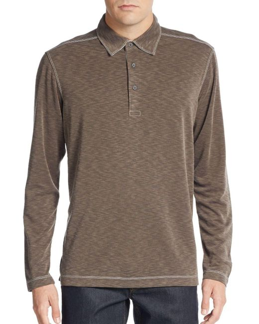 Saks Fifth Avenue | Brown Knit Long-sleeve Polo Shirt for Men | Lyst