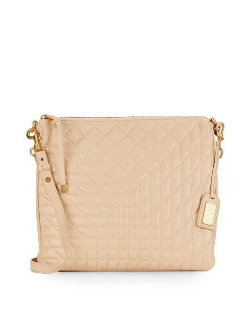 Badgley Mischka | Natural Clarissa Quilted Leather Convertible Clutch | Lyst