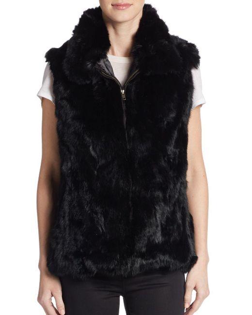 Saks Fifth Avenue | Black Rabbit Fur Vest | Lyst
