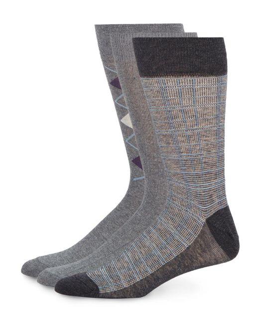 Saks Fifth Avenue | Gray Agryle Cotton-blend Socks/3-pack for Men | Lyst