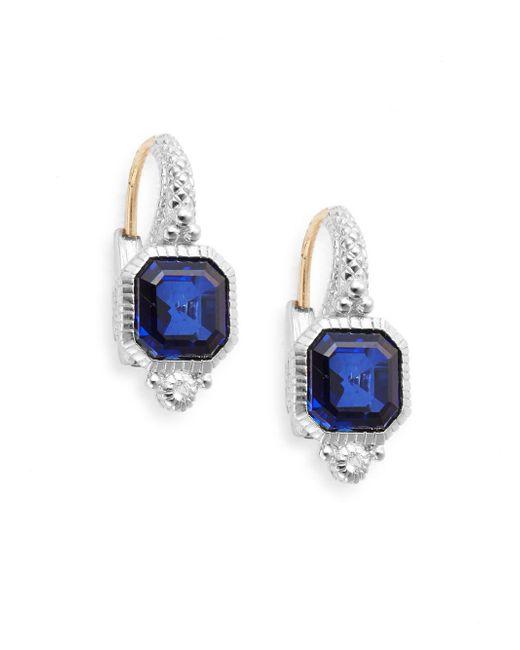 Judith Ripka   Estate Blue Corundum, White Sapphire & Sterling Silver Drop Earrings   Lyst