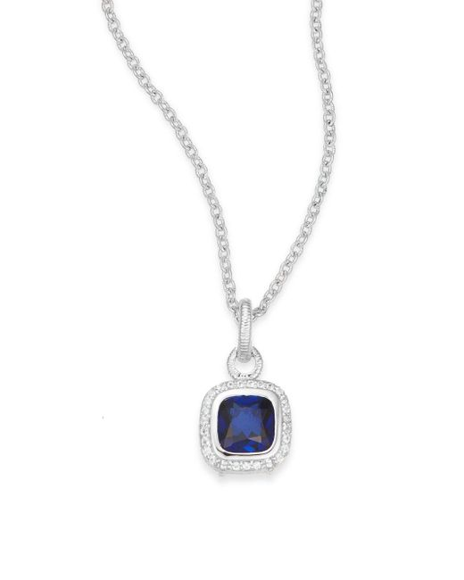 Judith Ripka | Metallic Blue Corundum, White Sapphire & Sterling Silver Pendant Necklace | Lyst