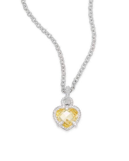 Judith Ripka | Metallic Linen Canary Heart & Sterling Silver Pendant Necklace | Lyst