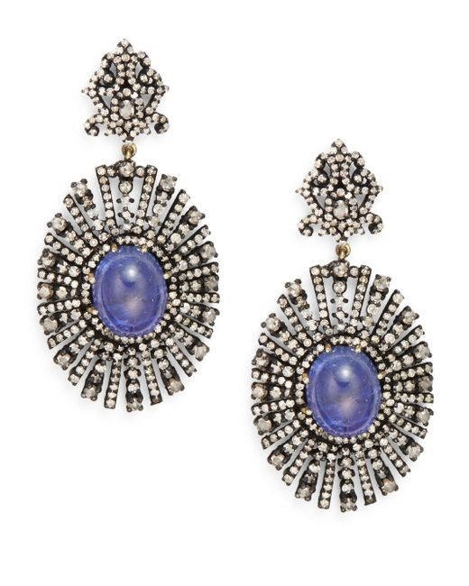Bavna | Purple Tanzanite, Champagne Diamond & Sterling Silver Drop Earrings | Lyst